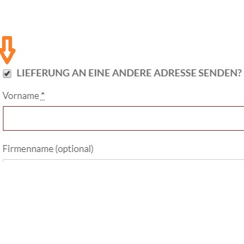 Lieferung an andere Adresse